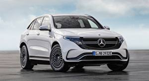 Fondos de escritorio Mercedes-Benz Blanco Frente Crossover EQC 400 4MATIC, AMG Line, 2019 Coches