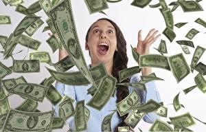 Fotos Geld Banknoten Dollars Viel Brünette Schreiendes