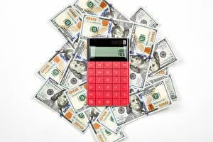 Fondos de escritorio Dinero Billete Dólar El fondo blanco calculator