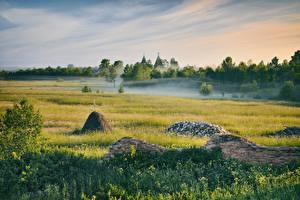 Pictures Morning Russia Grasslands Grass Fog Arkhangelsk region
