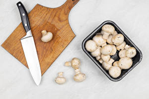 Wallpapers Mushrooms Knife Champignon Gray background Cutting board Food