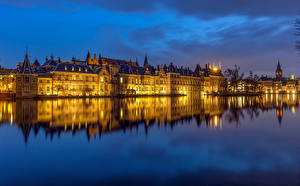Pictures Netherlands Houses Evening Pond Reflection The Hague, Hofvijver Cities