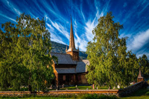 Images Norway Church Trees Lom Cities