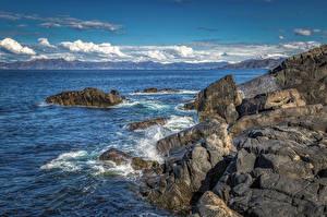 Images Norway Coast Stones Clouds Crag  Nature