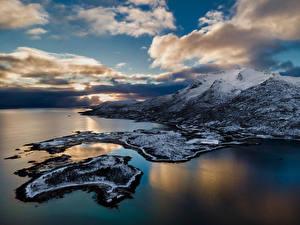Fotos Norwegen Lofoten Küste Gebirge Wolke  Natur