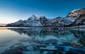 Hintergrundbilder Norwegen Lofoten Berg Küste Raftsundet