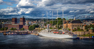 Pictures Norway Oslo Ship Houses Clouds Cities