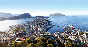 Wallpaper Norway Sea Coast Ships Marinas Horizon Cities