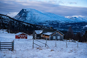 Pictures Norway Winter Mountain Houses Snow Fence Nature