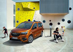 Bakgrundsbilder på skrivbordet Opel Skåpbil Brun Metallisk Familj Combo-e Life, 2021 automobil