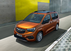 Bureaubladachtergronden Opel Bestelbus Bruine Metallic Bewegende Combo-e Life, 2021 automobiel