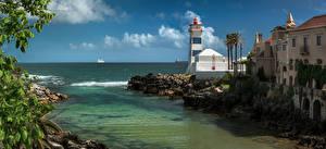 Fotos Portugal Küste Leuchtturm Gebäude Ozean Panorama Cascais Städte