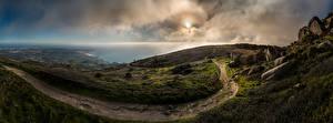 Hintergrundbilder Portugal Küste Ozean Panorama Stein Wolke Weg