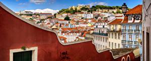 Fondos de escritorio Portugal Lisboa Edificio Panorama Tejado Castle Hill