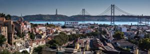 Fondos de escritorio Portugal Lisboa Casa Río Puente Panorama