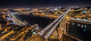 Image Portugal Oporto Rivers Bridge Houses Panorama Night