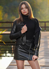 Pictures Pose Skirt Jacket Glance  female