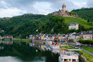 Bakgrunnsbilder Elver Elv Borg Elvefartøy Tyskland Cochem Åser Moselle river, Rhineland-Palatinate en by