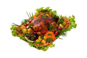 Bilder Hühnerbraten Gemüse Radieschen Kartoffel Mohrrübe Dill Weißer hintergrund
