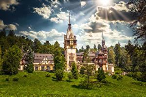 Bilder Rumänien Burg Wolke Turm Sonne