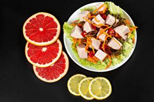 Wallpapers Salads Vegetables Lemons Grapefruit Black background