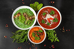 Picture Soups Borscht Black pepper Dill Gray background Three 3 Food
