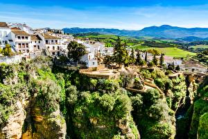 Picture Spain Building Cliff Trees Ronda, Andalusia