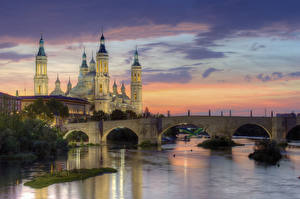 Image Spain Sunrise and sunset Temple Rivers Bridges Evening  Cities