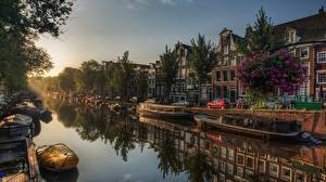 Images Sunrises and sunsets Amsterdam Netherlands Boats Canal Trees Cities