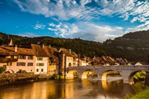 Pictures Sunrise and sunset Houses River Bridges Switzerland St. Ursann, Doubs river, Jura Cities