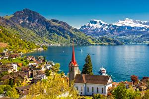 Wallpapers Switzerland Lake Riverboat Mountains Lake Lucerne, Weggis, Lucerne County Cities