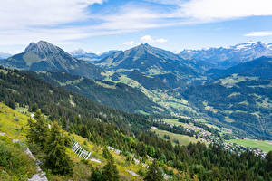 Pictures Switzerland Mountains Houses Alps Valley Leysin, Vaud Nature
