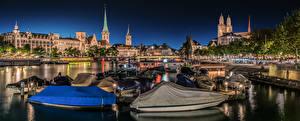 Pictures Switzerland Zurich Houses Bridge Boats Panorama Waterfront  Cities