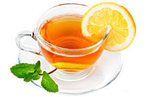 Papel de Parede Desktop Chá Limão Chávena Louça pires Fundo branco Alimentos