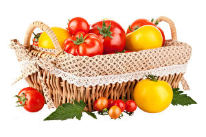 Wallpapers Tomatoes Wicker basket Foliage White background