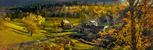 Wallpaper USA Houses Autumn Panorama Trees Vermont Nature