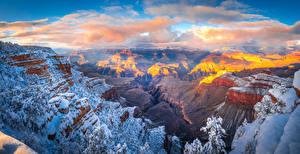Wallpaper USA Parks Grand Canyon Park Crag Snow Clouds Canyon Arizona Nature