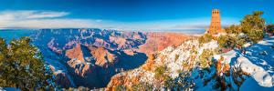 Bureaubladachtergronden Amerika Parken Nationaal Park Grand Canyon Landschap van Falesia klif landform Sneeuw Een toren Arizona Natuur