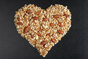 Pictures Valentine's Day Oatmeal Nuts Gray background Heart Food