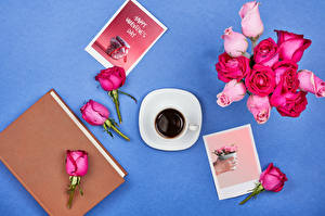 Pictures Valentine's Day Roses Coffee Colored background Pink color Cup Book Lettering English flower