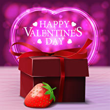 Pictures Valentine's Day Strawberry Word - Lettering English Gifts Heart