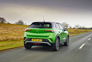 Wallpapers Vauxhall Roads Crossover Green Metallic At speed Mokka-e, 2021 automobile