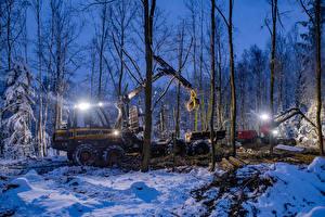 Hintergrundbilder Winter Wälder Forwarder Abend Schnee Bäume Natur