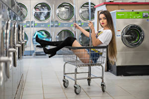 Wallpaper Modelling Wicker basket Sitting Legs Wearing boots Shorts T-shirt Glance Alexis Contreras, laundry