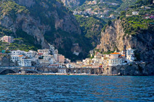 Pictures Amalfi Italy Houses Cliff Cities