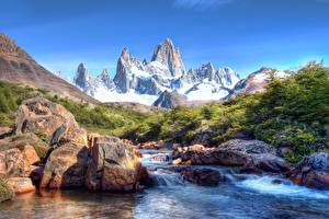 Image Argentina Mountain Stone River Fitzroy Peak, Patagonia Nature