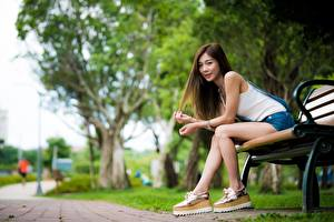 Pictures Asiatic Bench Blurred background Brown haired Sitting Hands Legs young woman