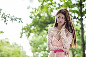 Images Asian Bokeh Brown haired Staring Hands Dissatisfied Girls