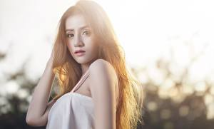 Images Asian Blurred background Brown haired Hands Glance female