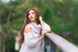 Wallpapers Asian Blurred background Glance Sweater Hands Brown haired Girls